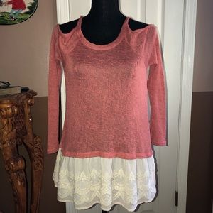 Living Doll Open Shoulders Lace Top